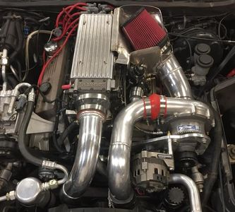 C4 Corvette, 383, Holley intake, Procharger, custom tubing, cold air induction.