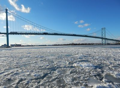 Ambassador Bridge between Windsor, ON and Detroit, MI