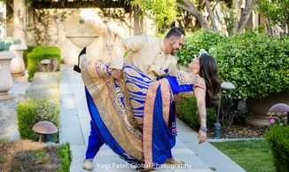 Hyatt Hotel Valencia, South Asian Wedding, Mexican, Royal blue Indian clothes, bride and groom, love