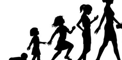 Image of a graphic depicting a baby growing into a toddler girl, to a young girl, to an adolescent woman, and finally to an adult woman walking confidently with fashionable accessories such as a bracelet, hair bun, clutch, belt, pencil skirt, and high heel shoes