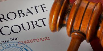 Image of a probate court document with case number, a seal, and a gavel
