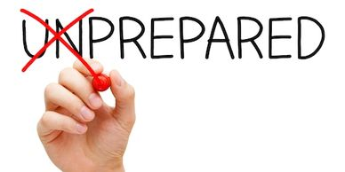 "Image of the word ""unprepared"", but a person's hand is holding a red permanent marker and has exed out the letters ""UN"" so the word actually reads ""prepared"""
