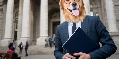 Image of a male lawyer in a suit and tie in front of a courthouse with Roman pillars, but the lawyer has the head of a golden retriever dog wearing red horn-rimmed glasses