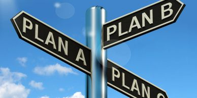 Image of a road sign with plan a, plan b, and plan c
