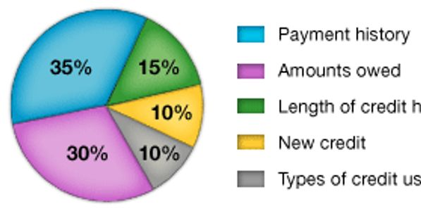 Image of a pie chart showing elements of a credit score: payment history, amounts owed, etc.