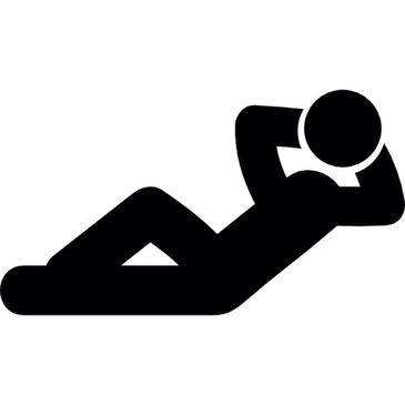 Graphic of a person reclining with their hands behind their head