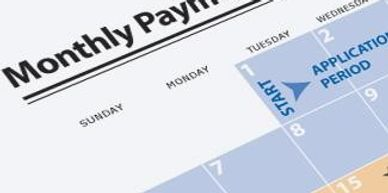 Image of a monthly payment plan and calendar.
