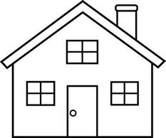 A basic black and white line drawing of a home