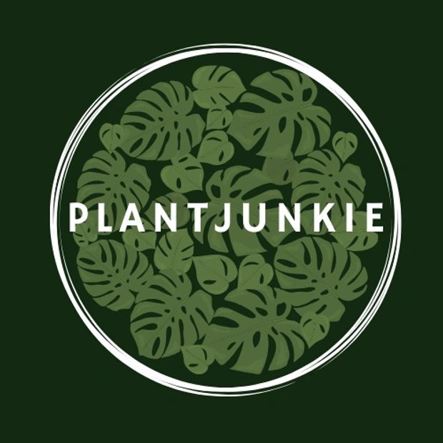 This is plantjunkies logo the text is white in the center of a white circle, its got a deep bottle green background and monstera leaves in a circular pattern.