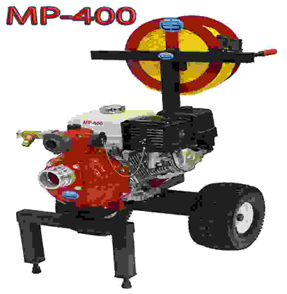 Code 3 water MP-400  portable wildfire fire water pump cart system with hoses