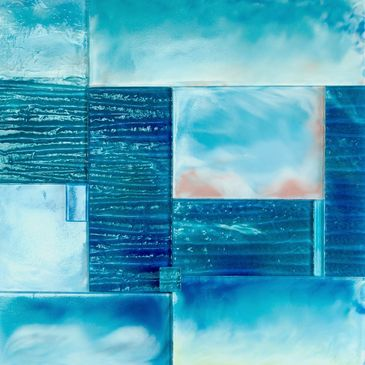 case recycled glass reverse painted seascape water sky art