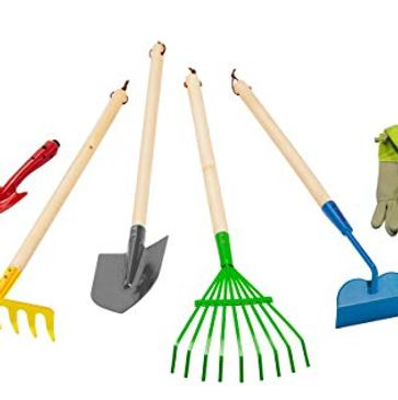 Shovels, rakes, yard tools, hand shovel, hoe, gloves, wheel barrow, spade shovel, flat head shovel