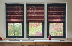 Three day and night blinds in a kitchen