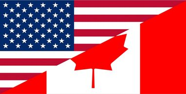 photos of US and Canadian flag