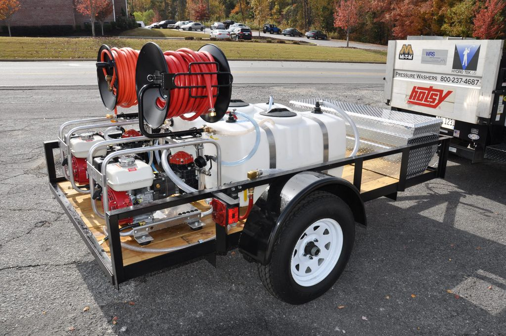 Twin Soft wash Trailer Package, diaphragm pumps with hose reels and tank