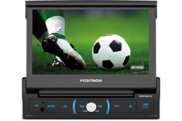 "Pósitron SP6730DTV DVD Player Retrátil 7"" USB SD TV Espelhamento Controle"