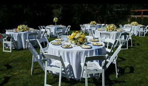 Party Equipment Rentals, White Wedding Chairs, Table Rentals, Backyard Weddings