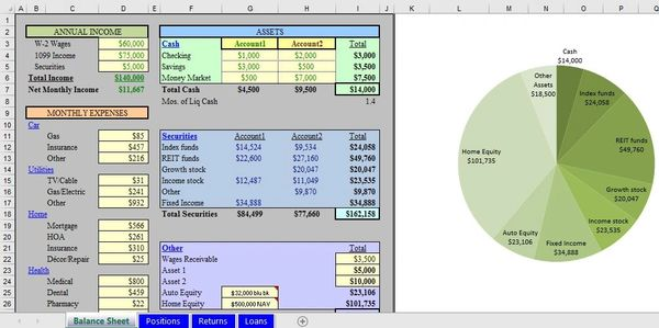 spreadsheet excel model financial model business model personal finance financial template net worth