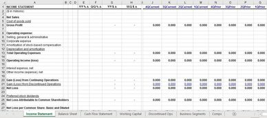 spreadsheet excel model financial model business model forecasting GAAP P&L Balance Sheet Cash Flow