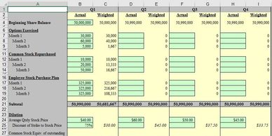 spreadsheet excel model financial model financial template fully-diluted shares outstanding options