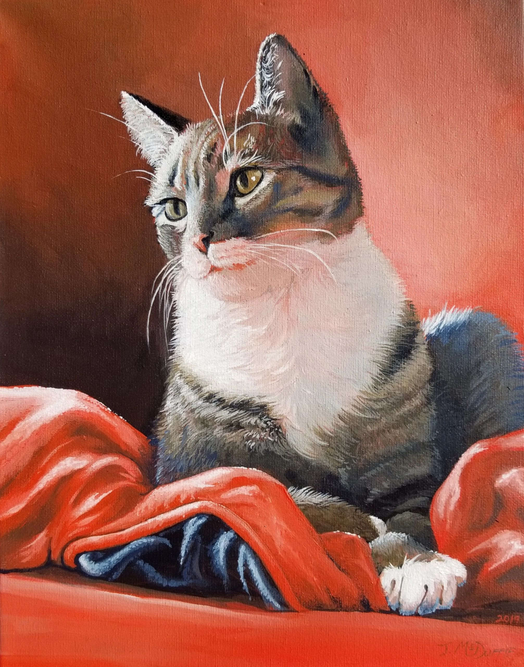 Tabby cat kitten acrylic painting on canvas. Original artwork from Jennifer McDuffie