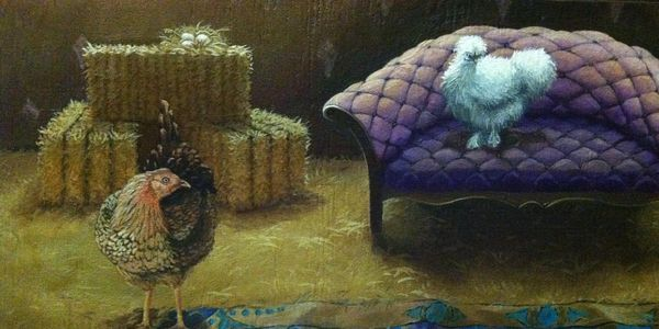 Hen Hotel Chicken Coop Mural, Chickens, purple love seat, hay bales, chicken nest with eggs and more