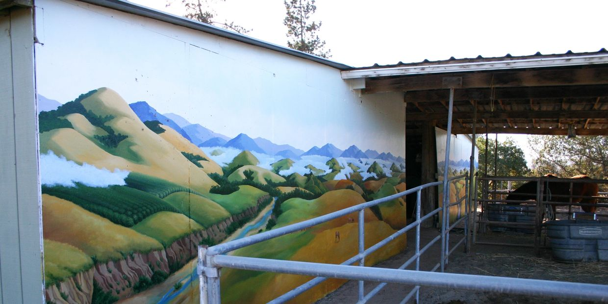 Right side of Ranch Mural, In Progress, still working on foreground