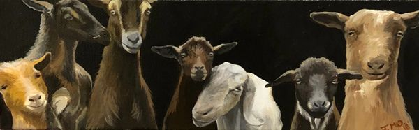 "Lopez Goats, 4"" x 10"" small acrylic painting on gallery wrapped stretched canvas"