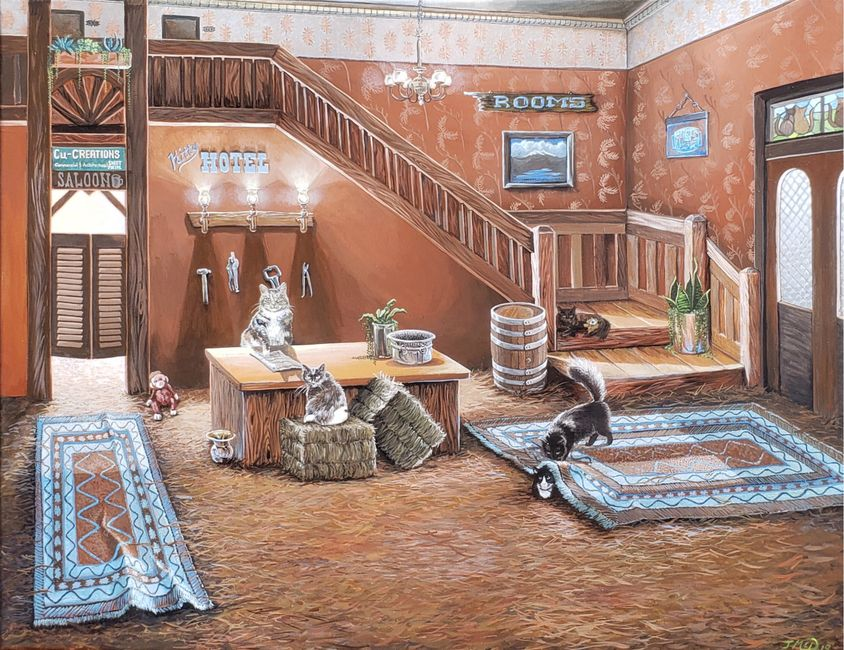 "Kitty Hotel, acrylic painting 24"" x 30"". Early 1900's Hotel seen with five cats, saloon, sheet metal"