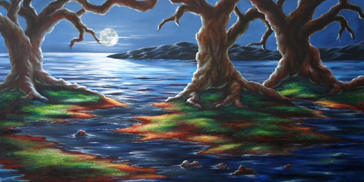 Oak trees at night with a painted full moon glowing on the ocean with islands in the background