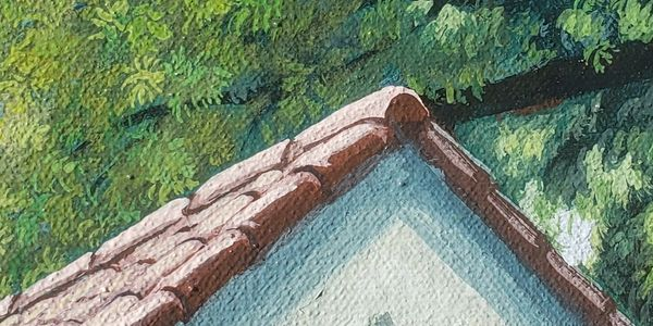 Detail of roof and the leaves in the trees painted with acrylics in thin layers of cool colors.