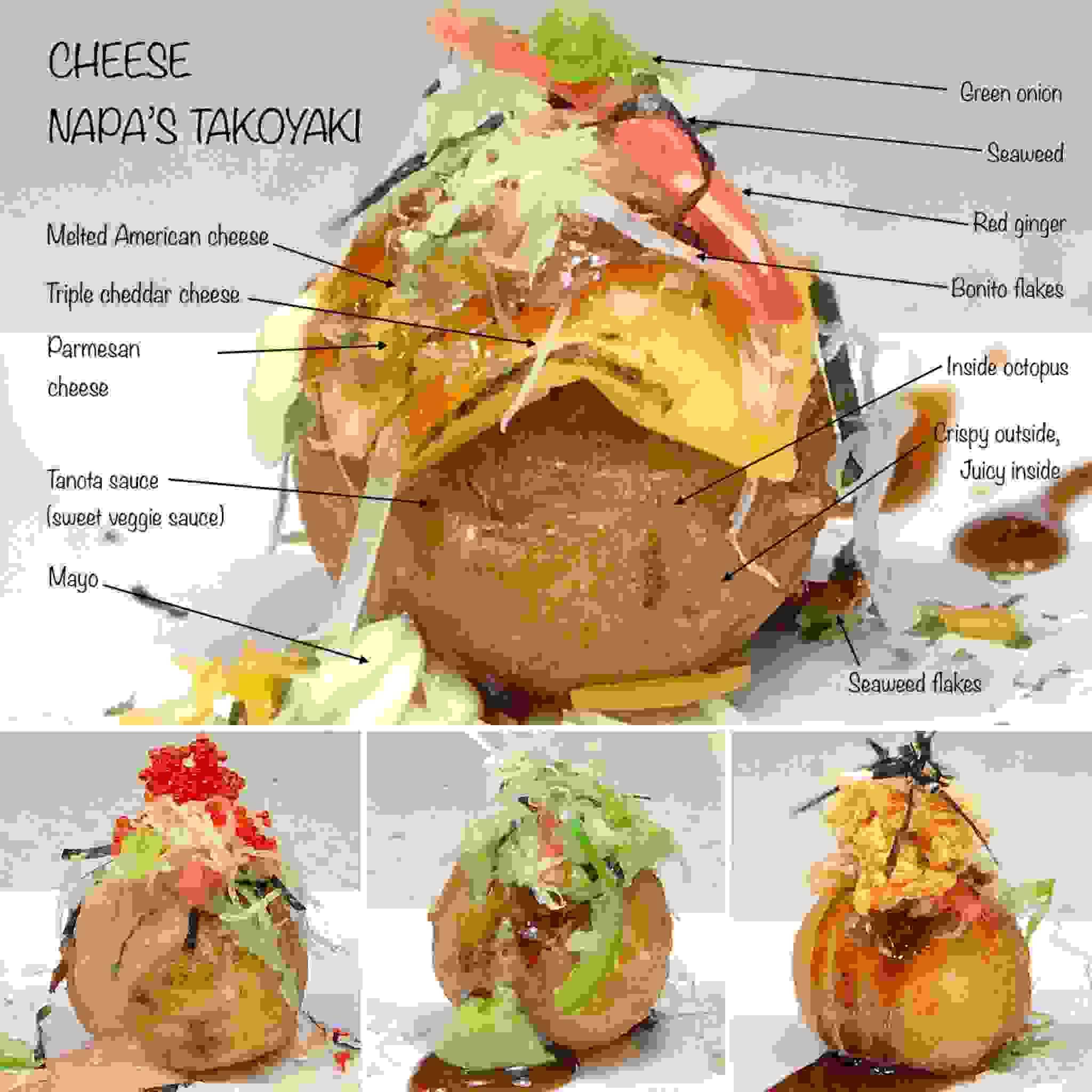"Reinvented Tokoyaki たこ焼き Takoyaki is a ""BALL SHAPED JAPANESE SNACK"" made of wheat flour based batter"