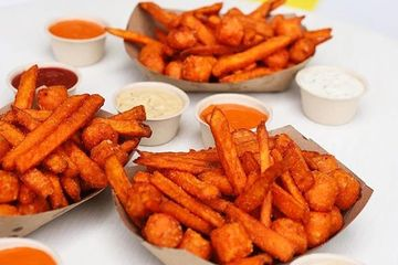 Sweet potato fries and tots.