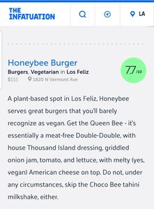 From the Infatuation approved list with a high rating for Honeybee Burger