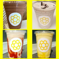 A grid of four small pictures of milk shakes. strawberry, orange, chocolate and oreo.