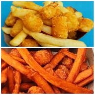French fries and tots and sweet potato fries and tots in 2 separate images.