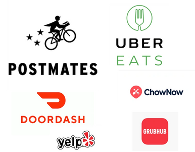 Delivery app logos for Postmates, ChowNow, Grub Hub, and Uber eats