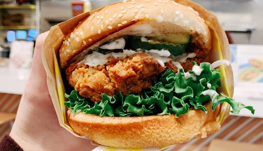 Atlas Monroe vegan fried chicken sandwich