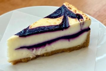 Blueberry White Chocolate Brulee Cheesecake