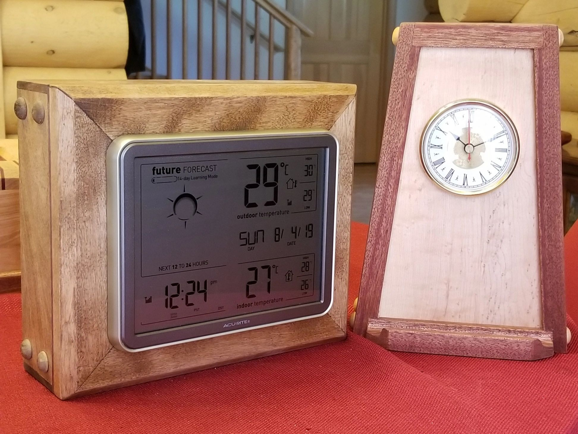 Weather Station & Clock featuring Concealed Compartments