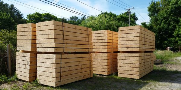 A load of landscape timbers ready to be shipped.