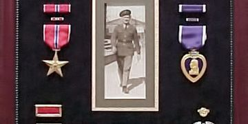 Custom frame examples of Military honors, WW1, WW2 war medals shadowbox frame Art & Frame, Wichita
