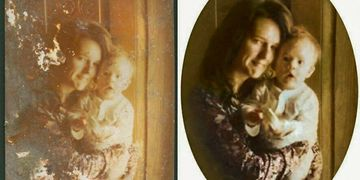 Testimonial for Art & Frame in Wichita with example of Photo Restoration of mother & child portrait