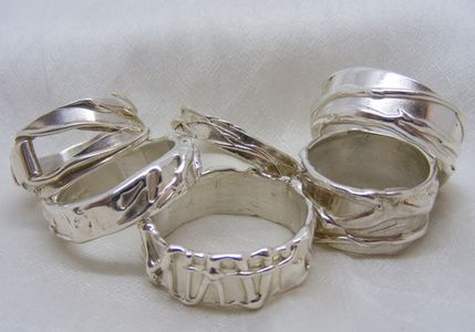 textured silver rings, fluidity rings