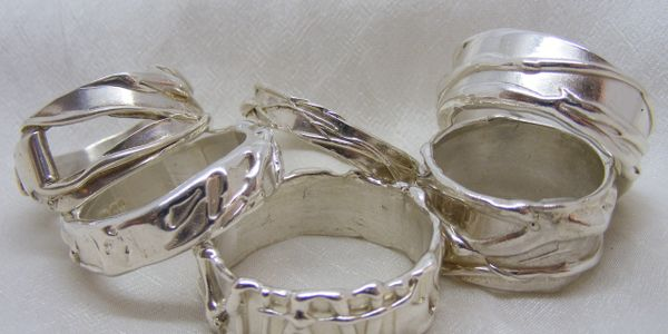Textured silver band rings, fluidity rings, handmade silver bands, textured rings, hallmarked silver ring
