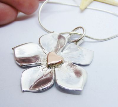 Silver Forget me not pendant, with 9ct rose gold heart, hallmarked, forget me not jewellery