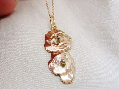 Recycled rose gold pendant, rose gold gourd with white gold balls, mixed metals, hallmarked, unique