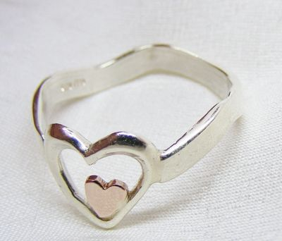 White gold wave ring, rose gold heart, mixed metals, 9ct white gold handmade ring, hallmarked
