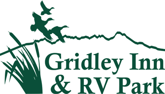Gridley Inn & RV Park Logo showing ducks flying over the outline of the Sutter Buttes in California