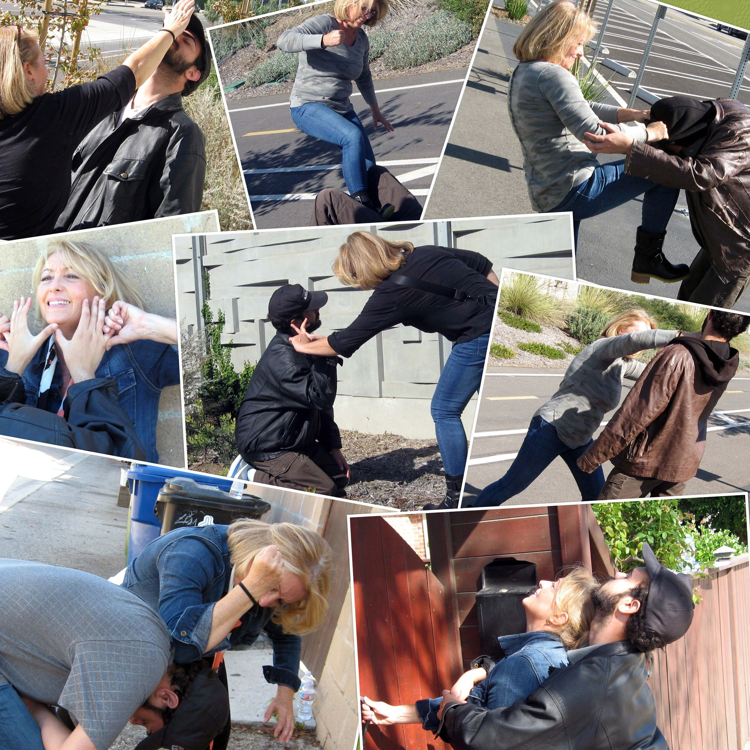Collage of women's self-defense techniques for Conscious Defense.